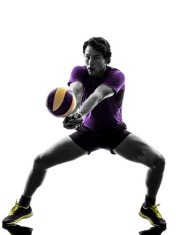 36101487 - young volley ball player man in silhouette white background