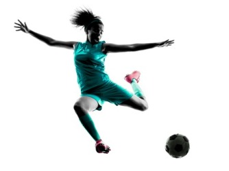 44570397 - one teenager girl child playing soccer player in silhouette isolated on white background