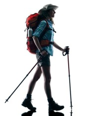 46923263 - one caucasian woman trekker trekking walking nature in silhouette isolated on white background